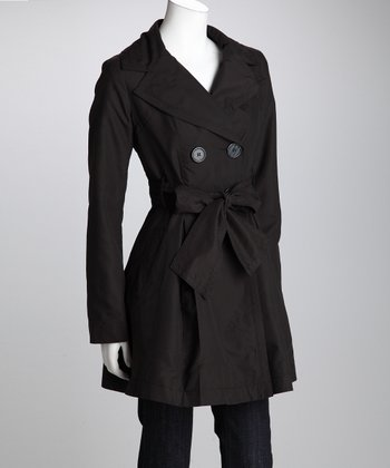 Black Double-Breasted Trench Coat - Women