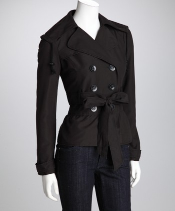 Black Double-Breasted Belted Jacket - Women