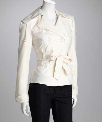 Ivory Double-Breasted Belted Jacket - Women