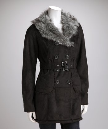Black Faux Fur Peacoat