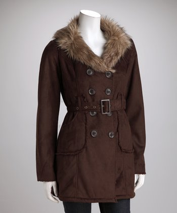 Dark Brown Faux Fur Peacoat