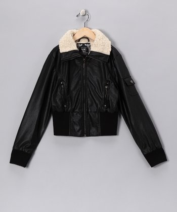Black Bomber Jacket - Toddler & Girls