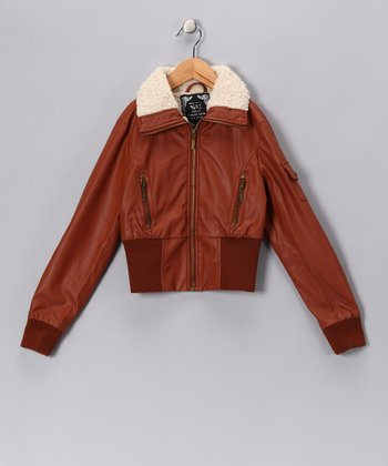 Cognac Bomber Jacket - Toddler & Girls