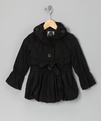 Black Bubble Coat - Girls