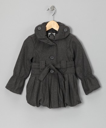 Charcoal Pleated Bubble Jacket - Girls