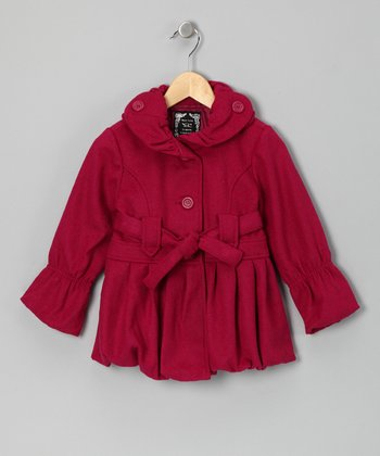 Fuchsia Pleated Bubble Jacket - Girls