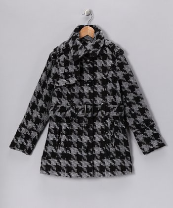Black & Gray Houndstooth Coat - Girls