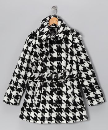 Off-White & Black Houndstooth Coat - Girls