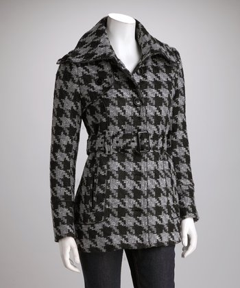 Black & Gray Belted Houndstooth Coat - Women