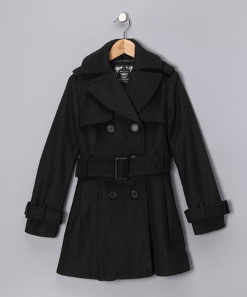 Black Belted Peacoat - Toddler & Girls
