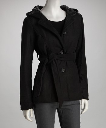 Black Tie Hooded Coat