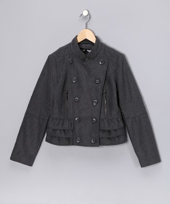 Charcoal Ruffle Military Jacket - Girls