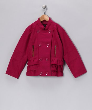 Fuchsia Ruffle Military Jacket - Girls