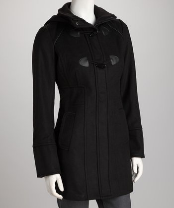 Black Toggle Hooded Coat