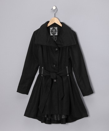 Black Trench Coat - Girls