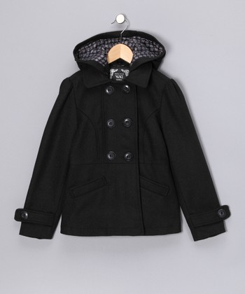Black Hooded Peacoat - Girls