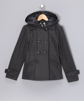 Charcoal Hooded Peacoat - Girls