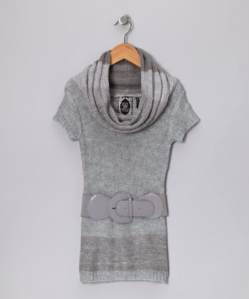 Heather Gray Belted Cowl Neck Sweater - Girls