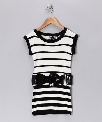 Black Stripe Knit Tunic - Girls