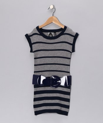 Navy Stripe Knit Tunic - Girls