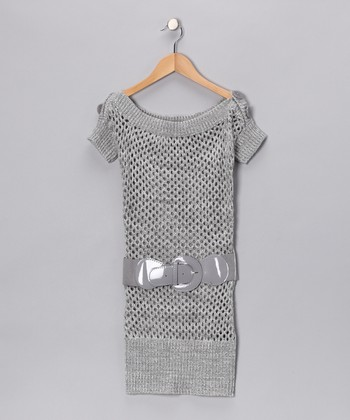 Gray Knit Boatneck Tunic - Girls