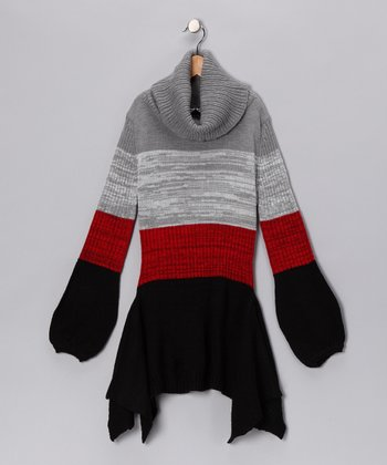 Red Knit Sidetail Tunic - Girls