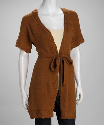 Light Brown Braided Open Cardigan