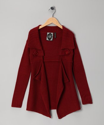 Dark Red Open Cardigan - Girls