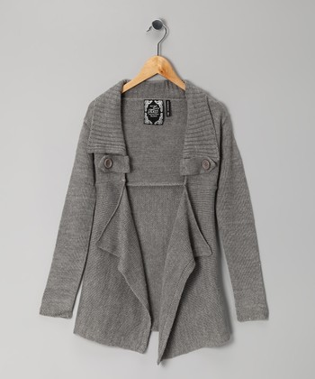 Gray Open Cardigan - Girls