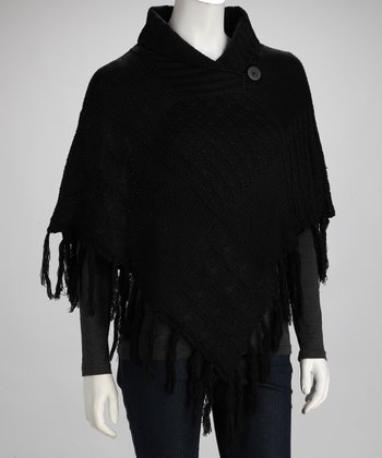 Black Button Poncho