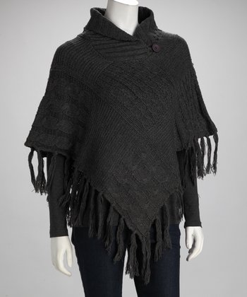 Charcoal Button Poncho