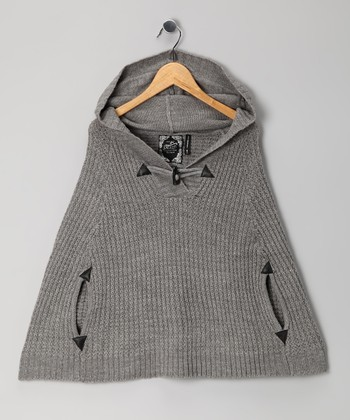 Gray Toggle Cape - Girls