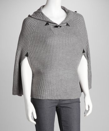 Heather Gray Knit Hooded Cape