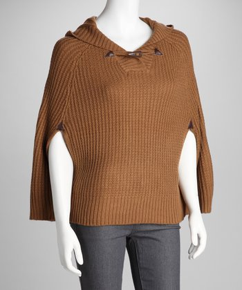 Light Brown Knit Hooded Cape