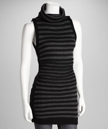 Black Stripe Sleeveless Sweater
