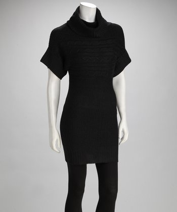 Black Knit Cowl Neck Top