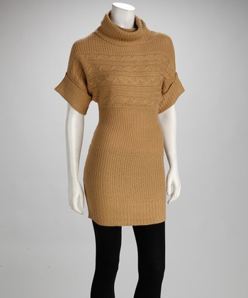 Camel Knit Cowl Neck Top