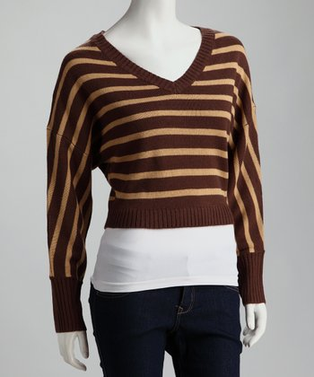 Dark Brown Stripe V-Neck Sweater