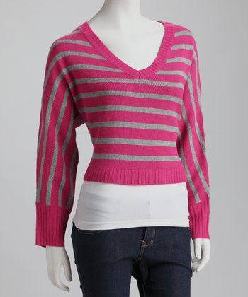 Fuchsia Stripe V-Neck Sweater