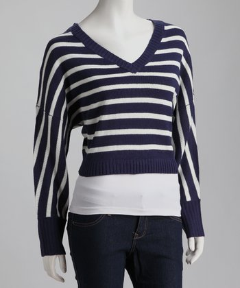 Navy Stripe V-Neck Sweater