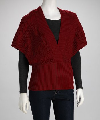 Dark Red Cape-Sleeve Top