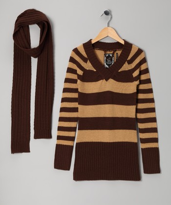 Brown Stripe Tunic & Scarf - Girls