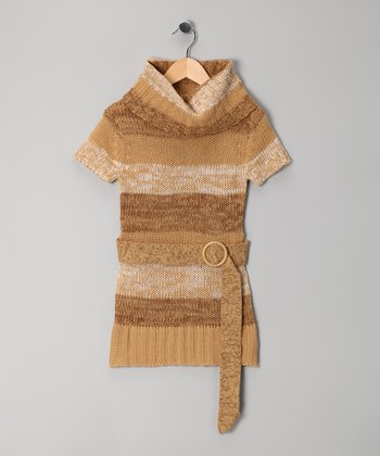 Camel Stripe Cowl Neck Tunic - Girls