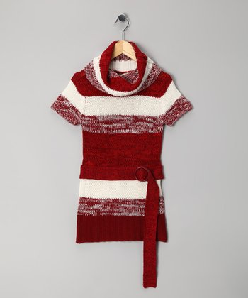 Dark Red Stripe Cowl Neck Tunic - Girls