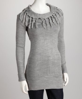 Heather Gray Tassel Sweater