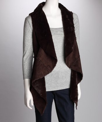 Dark Brown Faux Fur Vest