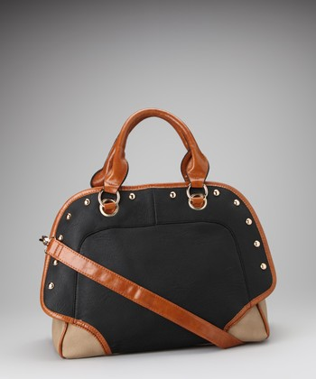 Black & Tan Studded Satchel