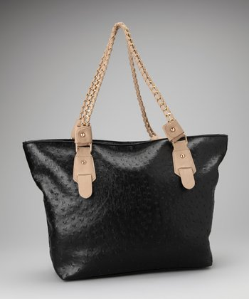 Black Ostrich-Embossed Tote