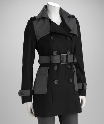 Black & Charcoal Belted Coat