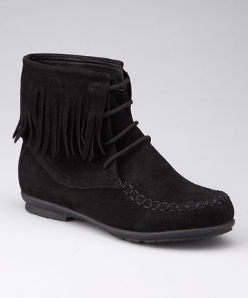 Black Fringy Boot